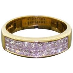 18 Karat Gold Signed Quadra Princess Cut Square Diamond Ring 1.10 Carat