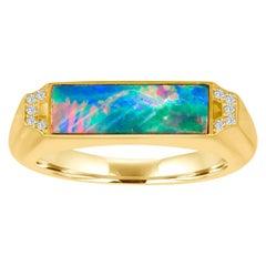 18 Karat Gold Signet Ring with Diamonds and Boulder Opal