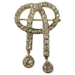 18 Karat Gold Silver and Diamond Brooch