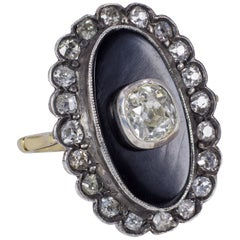 18 Karat Gold, Silver, Onyx and 0.65 Carat Diamond Ring, Early 20th Century