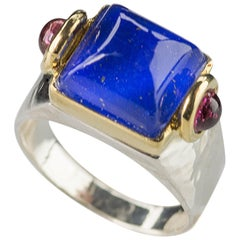 Art Deco Style 18Karat Gold Silver Sterling Blue Lapis Lazuli Castle Design Ring