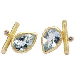 18 Karat Gold, Sky Blue Topaz, Diamonds Angle Studs Pierced Earrings