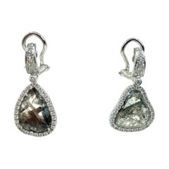 18 Karat Gold Sliced Diamond and Diamonds Italian Earrings