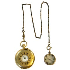 18 Karat Gold Small Half Hunter Pocket Watch and Mini Compass with Enamel