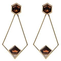 18 Karat Gold Smoky Quartz and 0.24 Carat Diamond Affinitá Earrings.Sustainable