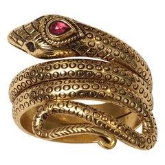 18 Karat Gold Snake Ring with Ruby