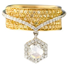 18 Karat Gold Solitaire Rose-Cut Diamond and Yellow Sapphire Solitaire Ring