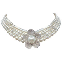 18 Karat Gold South Sea Pearl, Akoya Pearls and Diamonds Necklace
