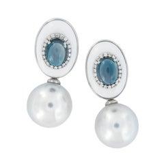 18 Karat Gold South Sea Pearl, Blue Topaz, Agate Drop Earrings