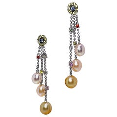 18 Karat Gold South Sea Pearls and Multicolored Sapphires Hanging Drop Earrings
