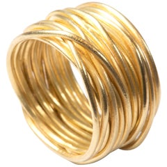 18 Karat Gold 'Spaghetti' Wrapped Wire Contemporary Ring Handmade, Disa Allsopp