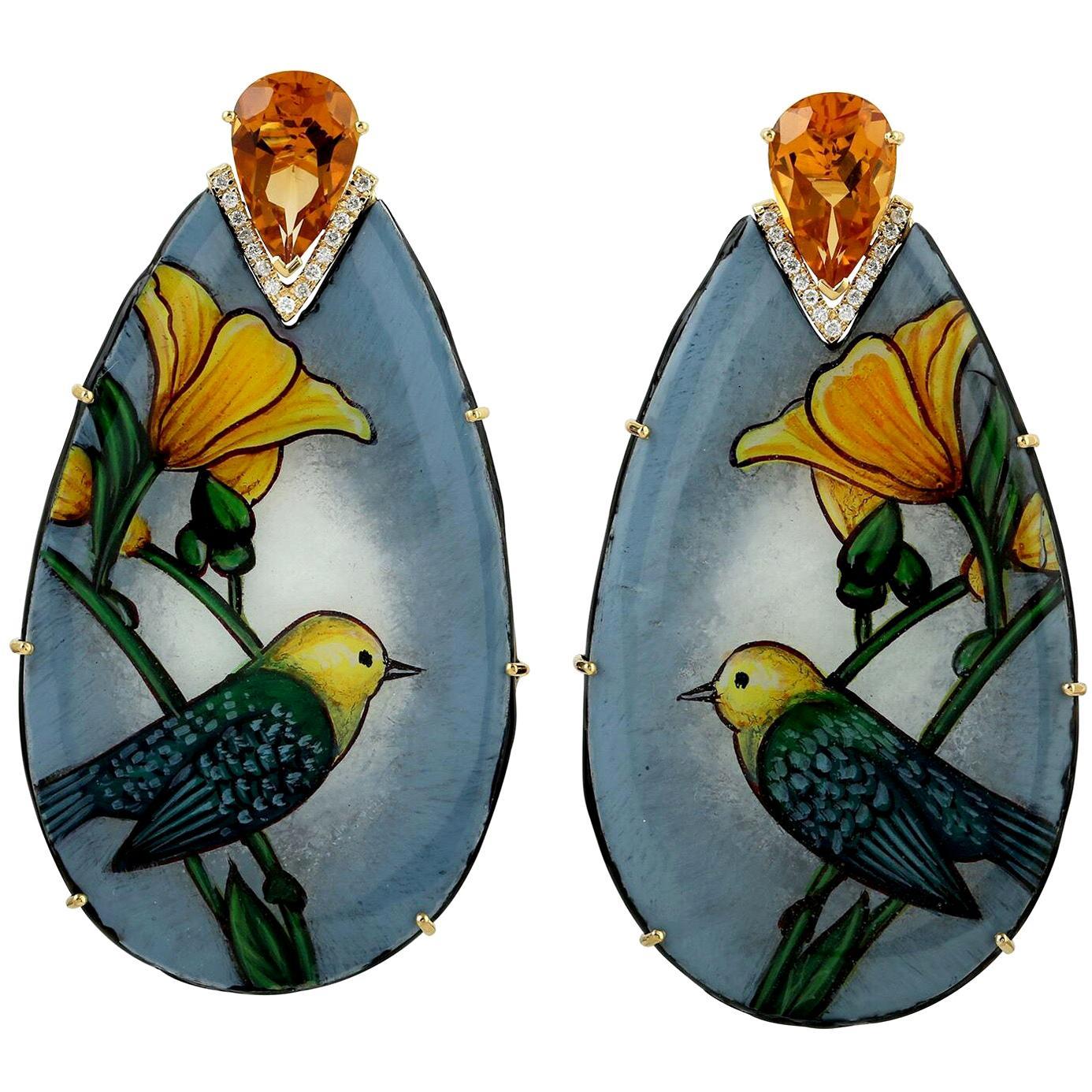 18 Karat Gold Sparrow Enamel Citrine Diamond Earrings