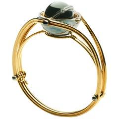18 Karat Gold Sphere Bracelet Onyx and Diamonds by Elie Top