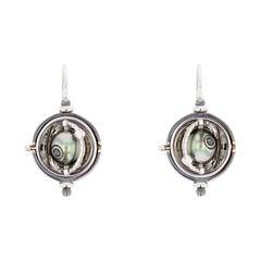 18 Karat Gold Sphere Earrings Tahiti Pearls by Elie Top