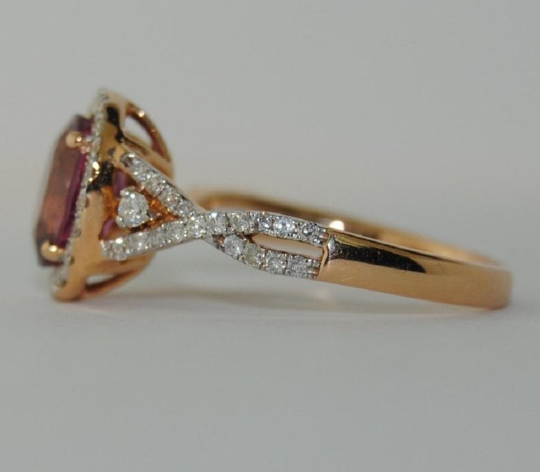 Modern 18 Karat Gold Spinel and Diamond Ladies Ring For Sale