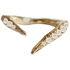 18 Karat Gold Split Ring Band with Diamonds