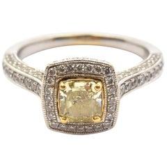 18 Karat Gold Square Brilliant Fancy Yellow 0.77 Carat Diamond Engagement Ring