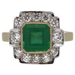 18 Karat Gold Square Emerald Cut Emerald and Diamond Art Deco Style Cluster Ring