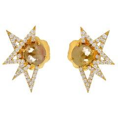18 Karat Gold Star Gaze Natural Raw Uncut Diamond Stud Earrings