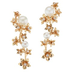 18 Karat Gold Star Jasmine Vine Earrings with Diamond and Freshwater Pearl