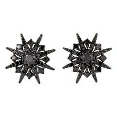 18 Karat Gold Starburst Black Diamond Stud Earrings