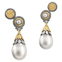 18 Karat Gold, Stering Silver, Pearl and Diamond Lotus Bud Ear Climber Earrings