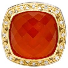 18 Karat Gold Sterling Silver 0.32 Carat Diamond Pave Quartz Cocktail Ring