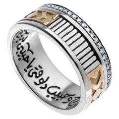 "18 Karat Gold, Sterling Silver & 0.38 Carat Diamond Calligraphy ""Love"" Band Ring"