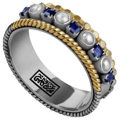 18 Karat Gold, Sterling Silver, 0.45 Carat Sapphire and Pearl Stackable Ring