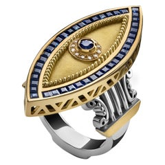 18 Karat Gold, Sterling Silver, 2.50 Carat Sapphire and Diamond Ottoman Eye Ring
