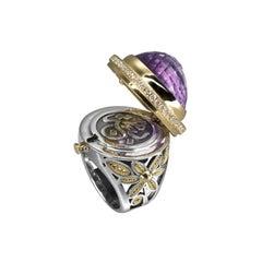 18 Karat Gold, Sterling Silver, 30.00 Carat Amethyst and Diamond Locket Ring