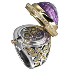 18 Karat Gold, Sterling Silver, 30.00 Carat Amethyst and Diamond Locket Ring