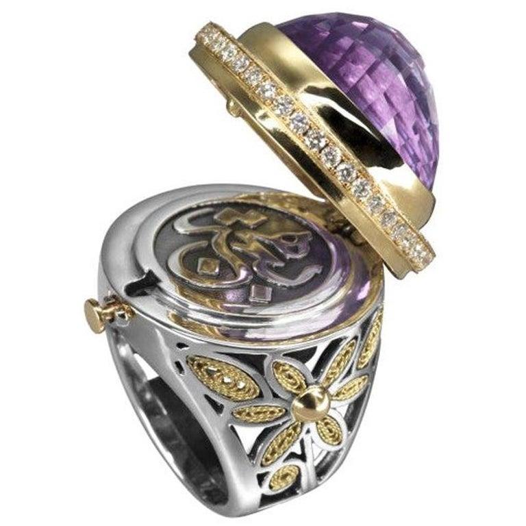 Amethyst, diamond, silver and yellow gold locket ring, 2016