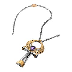 18 Karat Gold, Sterling Silver, Amethyst and Diamond Key of Life Necklace