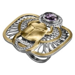 18 Karat Gold, Sterling Silver, Amethyst and Diamond Limited Winged Scarab Ring
