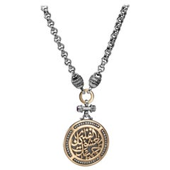 18 Karat Gold, Sterling Silver, Amethyst and Diamond Calligraphy Coin Necklace