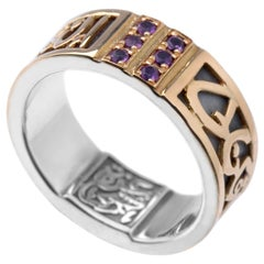 18 Karat Gold, Sterling Silver and 0.30 Carat Amethyst Circles of Eternity Band