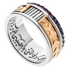 "18 Karat Gold Sterling Silver and 0.85 Carat Garnet Calligraphy ""Love"" Band Ring"