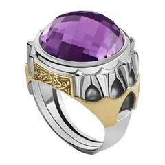 18 Karat Gold, Sterling Silver and Amethyst Mamluk Shajar Al-Durr Cocktail Ring