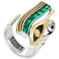 18 Karat Gold, Sterling Silver and Baguette-Cut Emerald Eye of Horus Ring