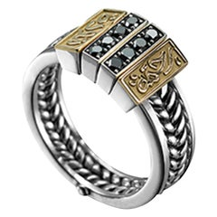 18 Karat Gold, Sterling Silver and Black Diamond Circles of Eternity Ring