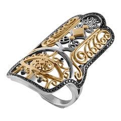 18 Karat Gold, Sterling Silver and Black Diamond Hand of Fatima Ring