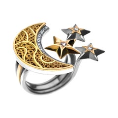 18 Karat Gold, Sterling Silver and Diamond Filigree Crescent Moon and Stars Ring