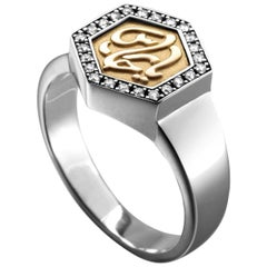 """18 Karat Gold, Sterling Silver and Diamond """"Guardian"""" Calligraphy Ring"""