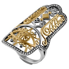 18 Karat Gold, Sterling Silver and Diamond Hand of Fatima Ring