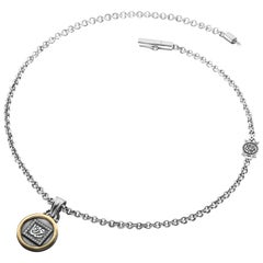 """18 Karat Gold, Sterling Silver and Diamond """"Happiness"""" Charm Necklace"""