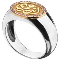 "18 Karat Gold, Sterling Silver and Diamond ""My Eternity"" Chevalier Ring"