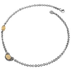 """18 Karat Gold, Sterling Silver and Diamond """"Never Apart"""" Calligraphy Necklace"""