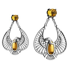 18 Karat Gold, Sterling Silver and Faceted Citrine Nekhbet Vulture Earrings
