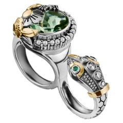 18 Karat Gold, Sterling Silver and Green Amethyst Snake Double Finger Ring